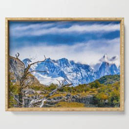 Snowy Andes Mountains, El Chalten, Argentina Serving Tray