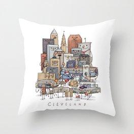 Cleveland Skyline group portrait Throw Pillow