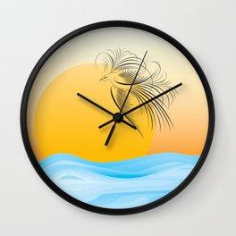 Flying bird - calligraphy Wall Clock
