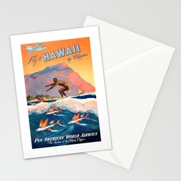 1947 Fly To Hawaii By Clipper Pan American Travel Poster Stationery Cards