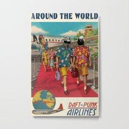 Daft Punk Print Around The World Retro Music Poster Framed Music Print - Vintage Style Music Decor Metal Print