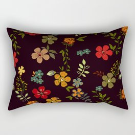 Floral Pattern Colorful Design Rectangular Pillow