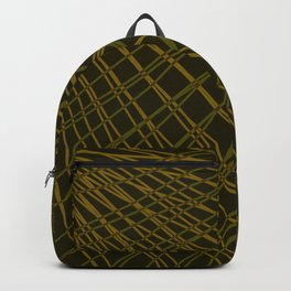 Rays of golden light with mirrored light waves on dark. Backpack