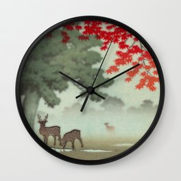 a couple under the red-Nara park Wall Clock