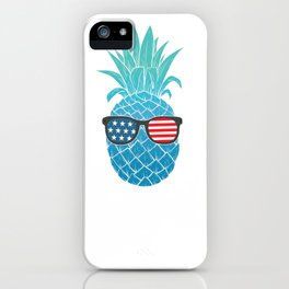 Hawaiian Pineapple American Flag Sunglasses 4th of July Pullover Hoodie iPhone Case
