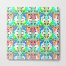 Chequered Rainbow Turquoise Festival Kaleidoscope Memphis Design Metal Print