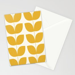 Mid Century Modern Leaves Yellow #society6 #buyart  Stationery Cards