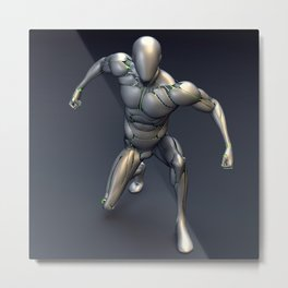 Silver Cyborg Landing Metal Print