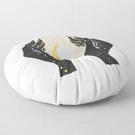 Gold La Lune In Hands Floor Pillow