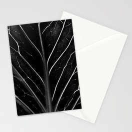 Black leaf with abstract patterns Stationery Cards