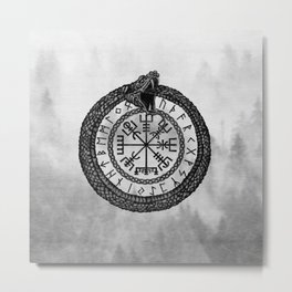 Vegvisir with Ouroboros and runes - grayscale Metal Print