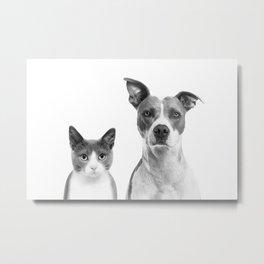 Cute Kitty Cat And Puppy Portrait Art Print, Cat And Dog Animal Nursery, Baby Animals Wall Art Decor Metal Print