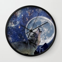 A One Wolf Moon Wall Clock