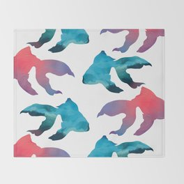 Pattern Oil Painting Abstract Tropical Fish Throw Blanket