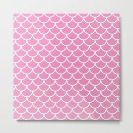 Pink fish scales pattern Metal Print