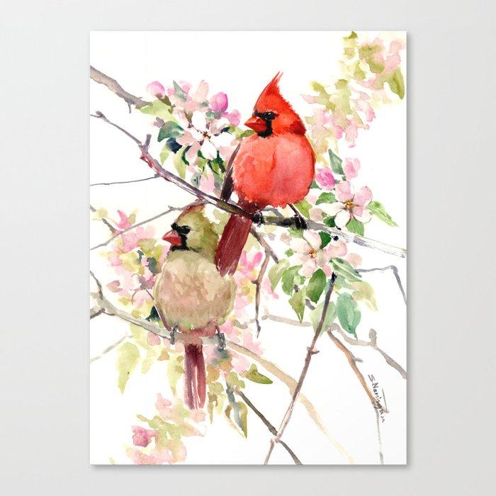 Cardinal Birds and Spring, cardinal bird design Leinwanddruck