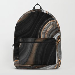 Elegant black marble with gold and copper veins Backpack