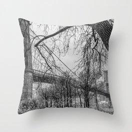 Brooklyn Bridge on an ominous day Throw Pillow