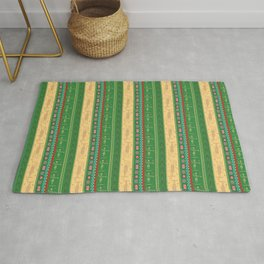 african ethnic green and yellow pattern Rug