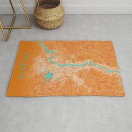 Kolkata, India, Gold, Blue, City, Map Rug