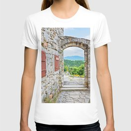 Town of Hum stone gate and street view T-shirt