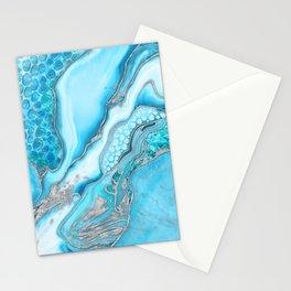 Liquid Marble -Blue quartz and gemstones Stationery Cards