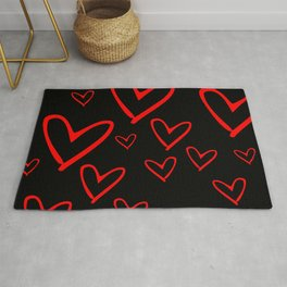 red love hearts Rug
