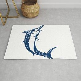 Blue Marlin Jumping Retro Rug