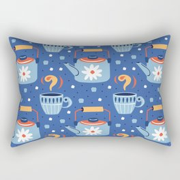 Farmhouse Teapots in Blue Rectangular Pillow