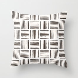 Sideways Stripes - Brown Mud Cloth Pattern Throw Pillow