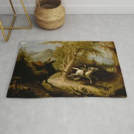 John Quidor Legend of Sleepy Hollow Headless Horseman Pursuing Ichabod Crane 1858 Rug