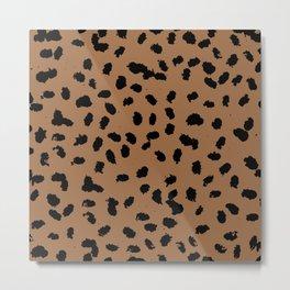 Little raw dalmatian spots cheetah animals print trend rusty copper brown black Metal Print