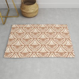 Butterfly and Flower Pattern Brown Beige Rug