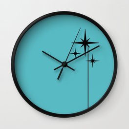 Atomic Age Retro 1950s Starburst in Black and 50s Turquoise Wall Clock