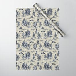 Alien Abduction Toile De Jouy Pattern in Blue Wrapping Paper