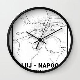 Cluj - Napoca Light City Map Wall Clock