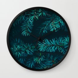 Pine Tree Close Up Neon Green Colorful Leaves Against A Black Background Wall Clock