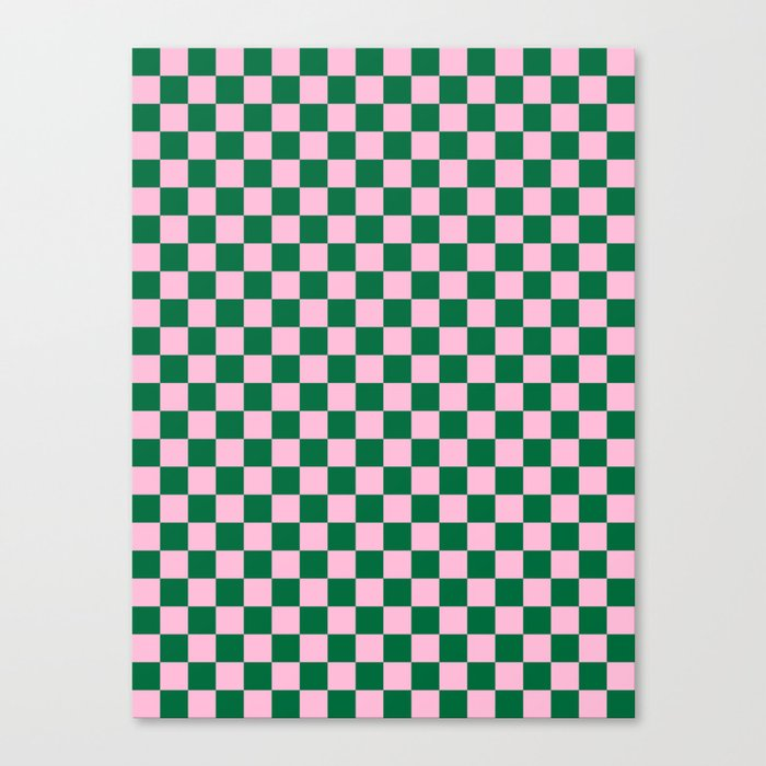 Cotton Candy Pink and Cadmium Green Checkerboard Leinwanddruck