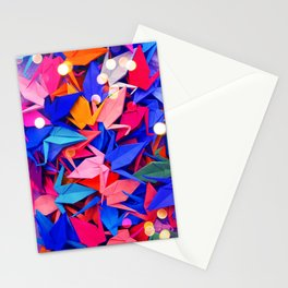 Senbazuru   pink and blues Stationery Cards