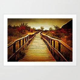 Way to sunrise landscape Art Print