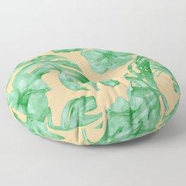 Tropical Monstera Hibiscus Botanical Pattern Green Coral Peach Floor Pillow