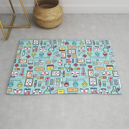 Proud To Be a Nurse Pattern / Blue Rug