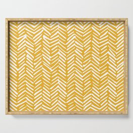 Boho Abstract Herringbone Pattern, Summer Yellow Serving Tray