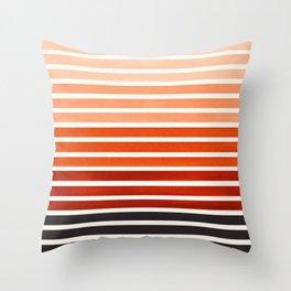 Watercolor Gouache Mid Century Modern Minimalist Colorful Burnt Sienna Stripes Throw Pillow