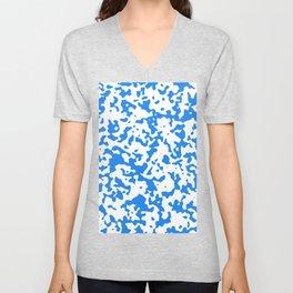 Spots - White and Dodger Blue Unisex V-Neck