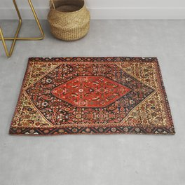 Persia Bijar Old Century Authentic Colorful Bright Red Yellow Vintage Patterns Rug