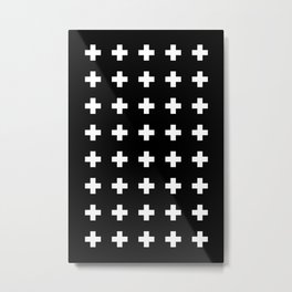 Swiss Cross Black Metal Print