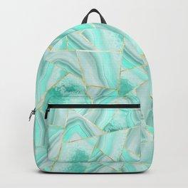 Soft Turquoise Agate Gold Geometric Summer Glam #1 #geo #decor #art #society6 Backpack