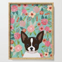 Chihuahua Florals - cute dog portrait, chihuahua lover, chihuahua  dog, cute Serving Tray