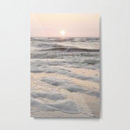 Pastel Tones Ocean In Holland Photo   Dutch Coast Seafoam And Waves Art Print   Travel Photography Metal Print